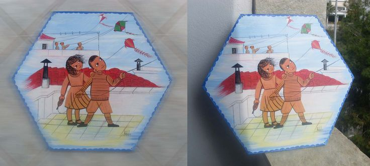 Brother and sister fly a kite... (illustration from my old alphabet book, thirty and more years ago)... Totally hand painted on a wooden kite with acrylics...
