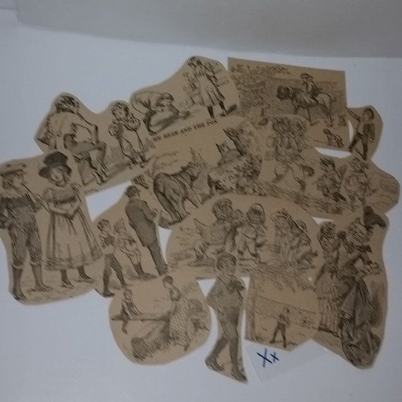 12 Antique children's story book illustration clippings black white drawings Victorian boys girls cats vintage paper ephemera supplies x