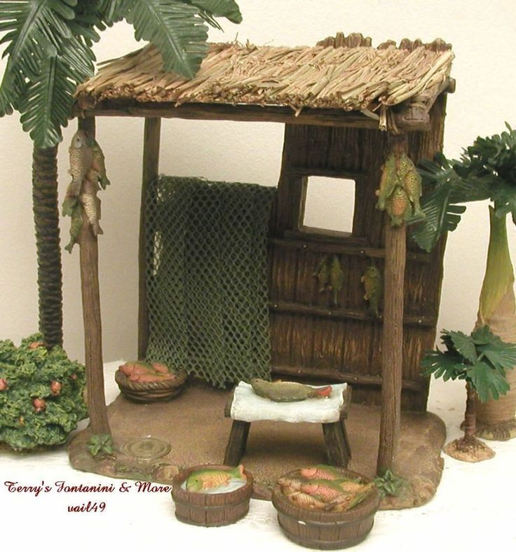 "FONTANINI ITALY 5"" 4PC FISH MARKET KIOSK 2009 NATIVITY VILLAGE BLDG 55552 NIB #Fontanini"