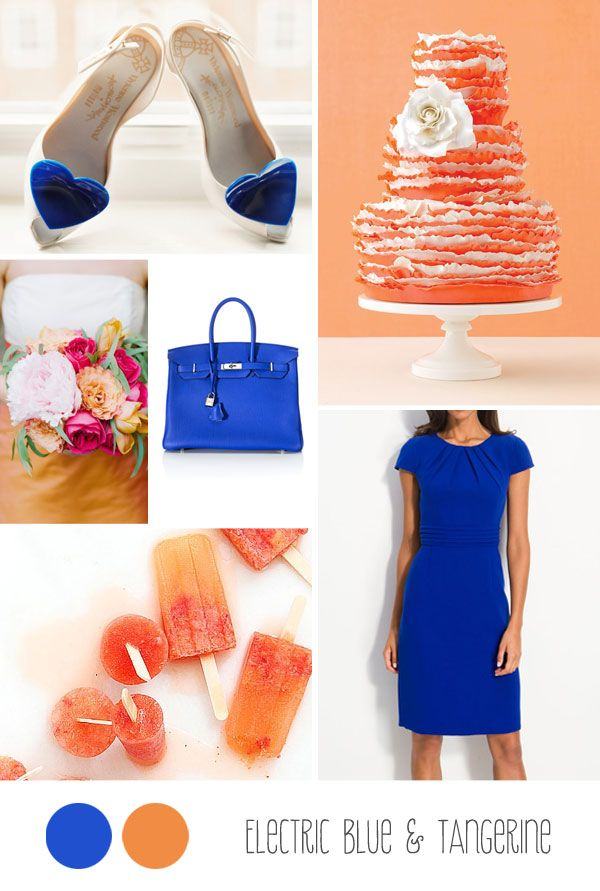 Electric bue and tangerine wedding. Love this dress!  Modest and the best color ever