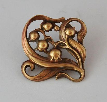 Vintage Art Nouveau Pierced Square Brass Button