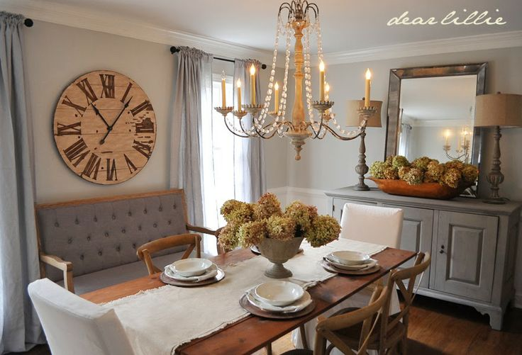 Dear Lillie: dining room- Love wall color, sideboard, clock, and drape color.  pretty much everything!