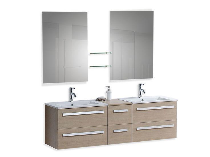 Meuble double vasque à tiroirs - miroir inclus - beige - Madrid