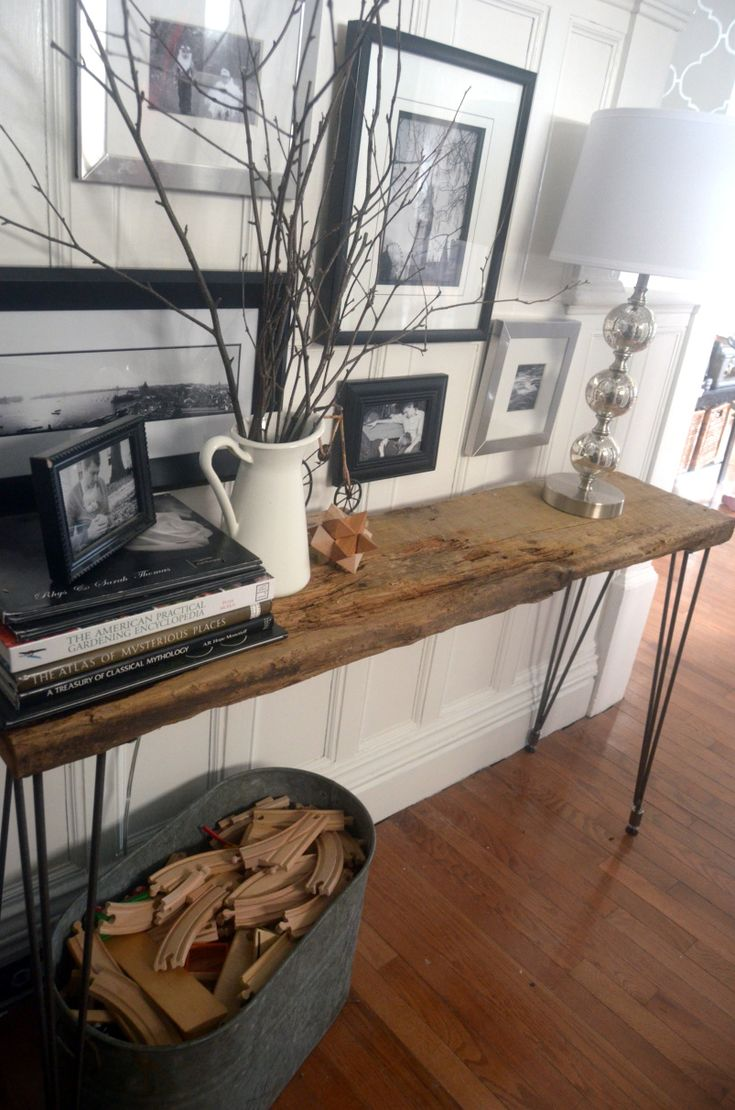 How to make a sofa table out of floor boards - Very Cool Live Edge Hairpin Leg Table Diy