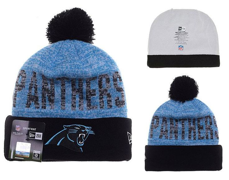 Mens / Womens Carolina Panthers New Era 2016 On-Field NFL Word Fuzz Crown Knit Beanie Hat With Pom Pom - Black / Blue