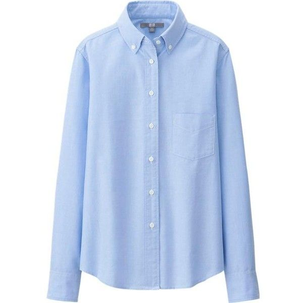 UNIQLO Oxford Long Sleeve Shirt ($21) ❤ liked on Polyvore featuring tops, blouses, long sleeve oxford shirt, blue long sleeve top, dressy tops, long sleeve cotton tops and oxford shirt