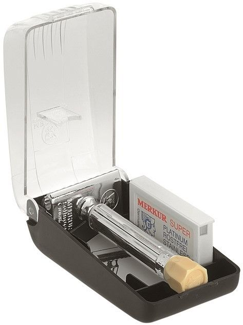 Protect your equipment and keep it organized at the same time. This compact package includes a Merkur Progress adjustable double edge safety razor, a 10 pack Double Edge Merkur blades, and a plastic s