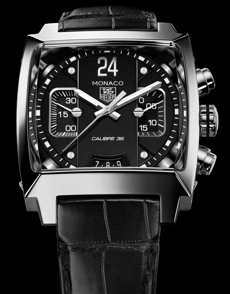 TAG Heuer Monaco Twenty-Four Black Dial Calibre 36  WOW......$14K..... I may want this.... When I hit the lottery!