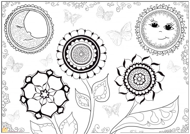 17 Best Images About Create Printables On Pinterest Sun Moon Mandala Coloring