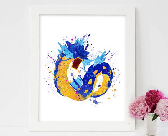 Gyarados, Pokemon Art Print, Pokemon Gyarados, Pokemon Go, Pokemon Print, Pokemon Decor, Pokemon Poster, Pokemon Wall Art,Pokemon watercolor