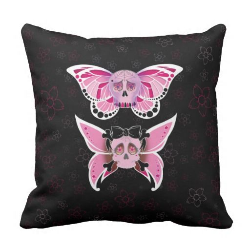 Pink #SugarSkull Throw #Pillow #Cushion .  Artwork by Toni Lee from http://www.tearingcookie.com/ Design work by Mannzie