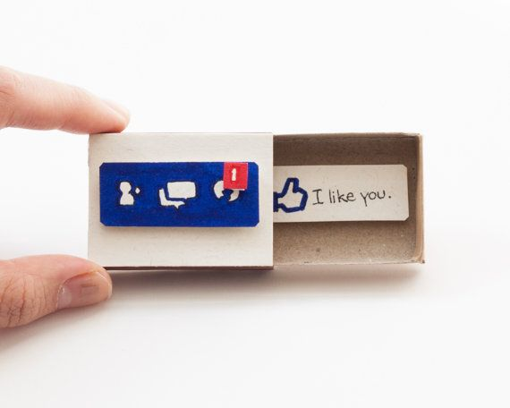 "Funny Dating Card/  Anniversary Card/ Love Card/ Friendship Card/  ""I like you"" / Facebook Card/ Matchbox"