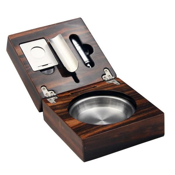 Cohiba Fold Cedar Wood Cigar Ashtray with Guillotine Cutter & Bullet Punch Set All the cigar-loving men will like it.
