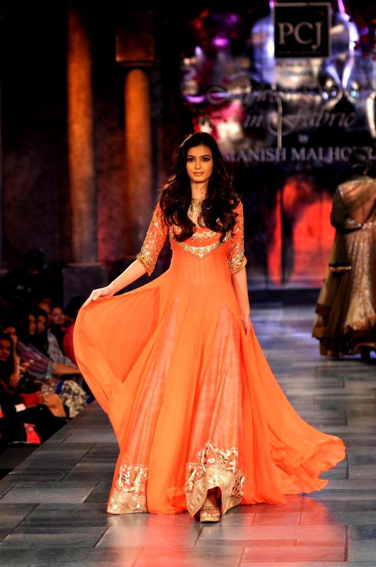 Manish malhotra anarkali manish malhotra anarkali hd wallpapers car - Diana Penty Poses In Orange Designer Frock By Manish Malhotra At Mijwan Fashion Show Lovely Color And Embroidery Combination Patterns Are Finely Decked All