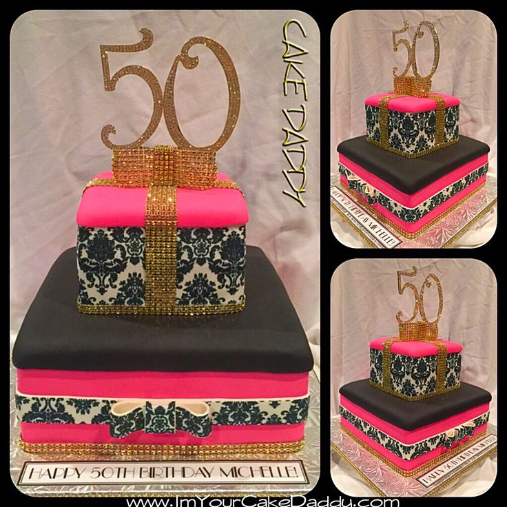 50th Birthday Bling And Damask Print Birthday Cake