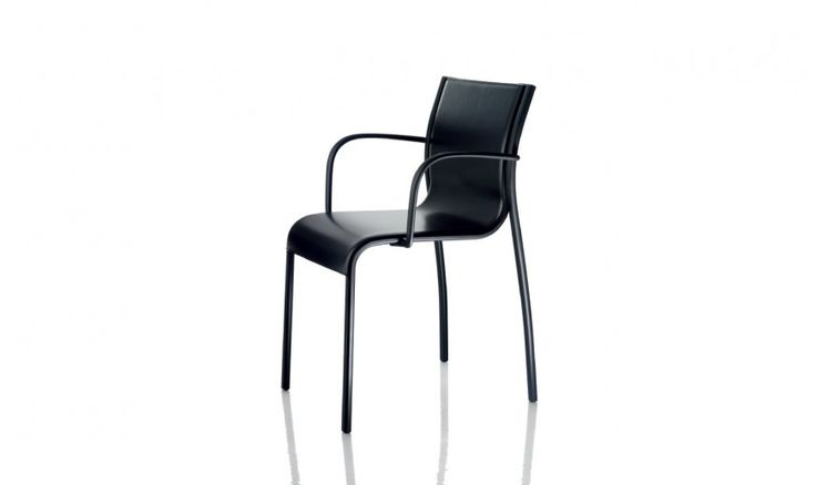 Stacking chair.  Also available with arms. Material: frame in aluminium, polished or painted in polyester powder. Arms and crosspieces in die-cast aluminium polished or painted in polyester powder. Seat in polyester-vinyl polymer fabric, or in polyester-vinyl polymer and polyester-cotton fabric, or in leather. Versions for outdoor use available.