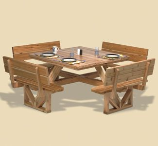 Square Picnic Table Woodworking Pattern Make this attractive and functional square picnic table. The table seats eight adults and can accommodate a standard umbrella. #diy #woodcraftpatterns