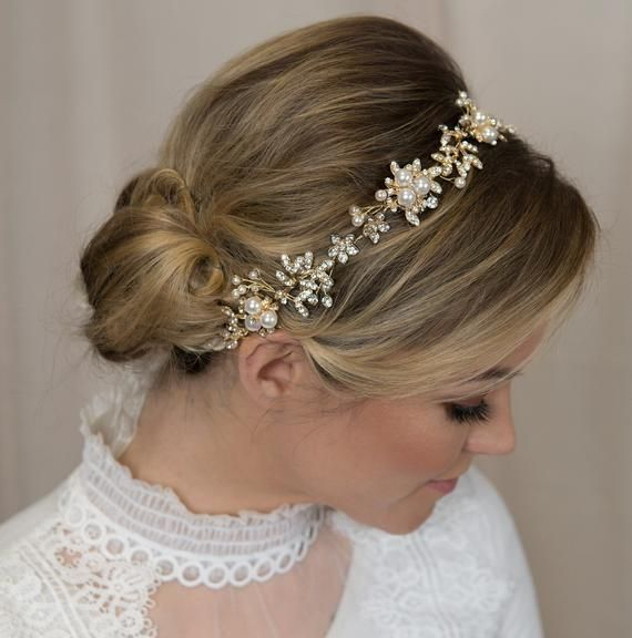 Gold wedding headpiece Bridal headpiece gold Wedding hair piece boho Wedding hair piece Bridal gold garland Gold bridal headpiece