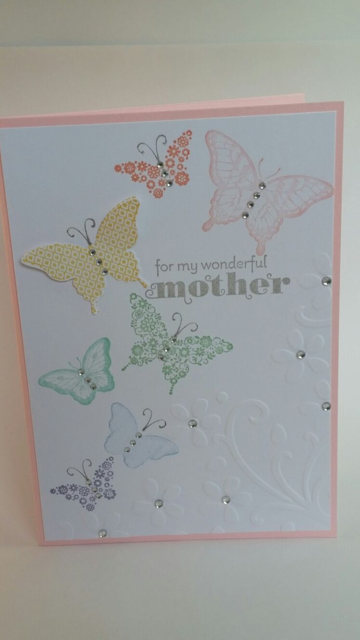 Rainbow of butterflies handmade card white on pink for my wonderful mother mother's day card