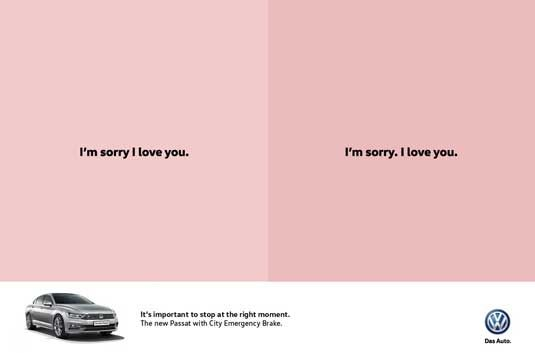 Volkswagen poster - [Clever copy that emphasizes the importance of braking (and, in this way, safety... stock volks).]