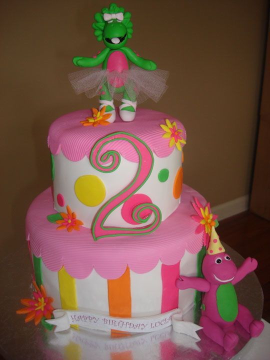 Barney cake with baby bop and cute colors