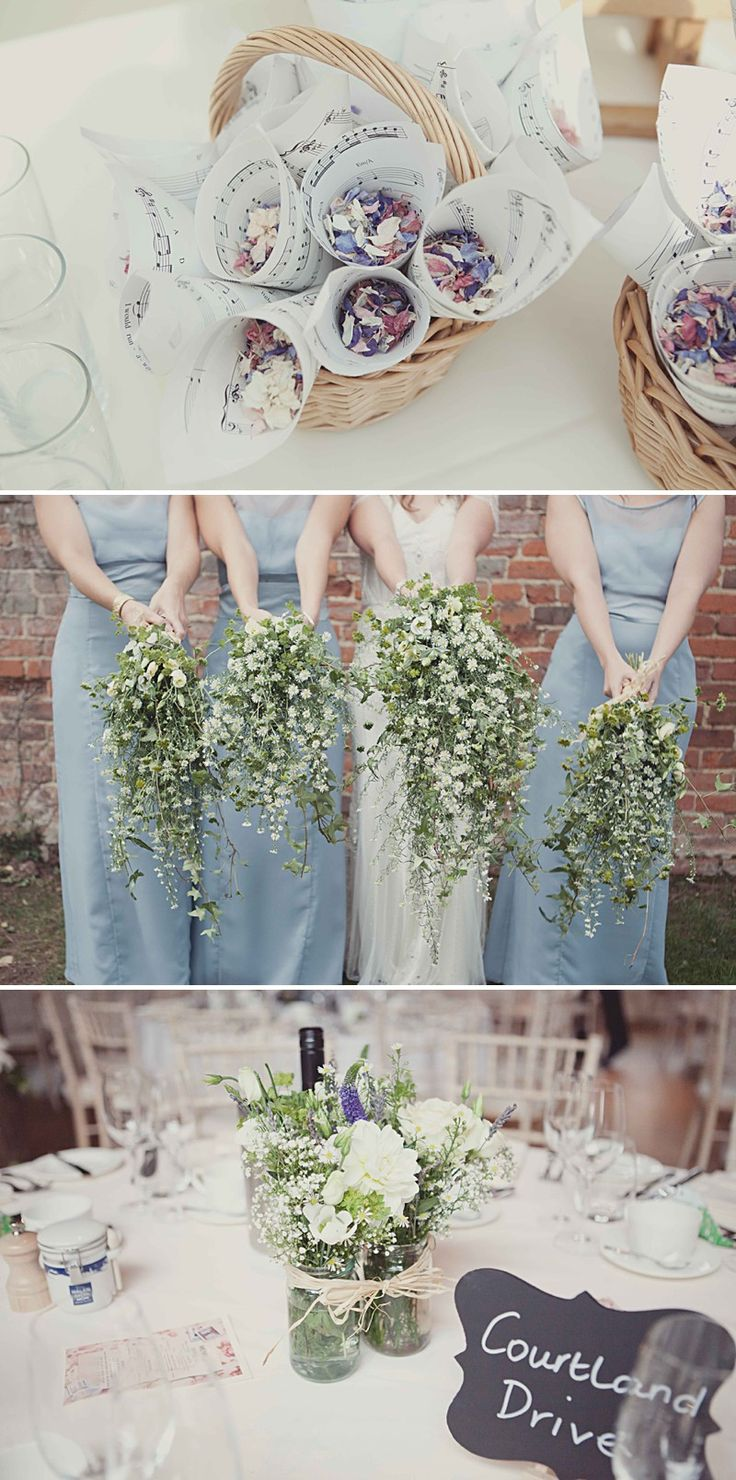 A Rustic Wedding At Gaynes Park With A Jenny Packham 'Eden' Dress And Dusky Blue Bridesmaids Dresses With Foliage Bouquets By Philippa James Photography._0006