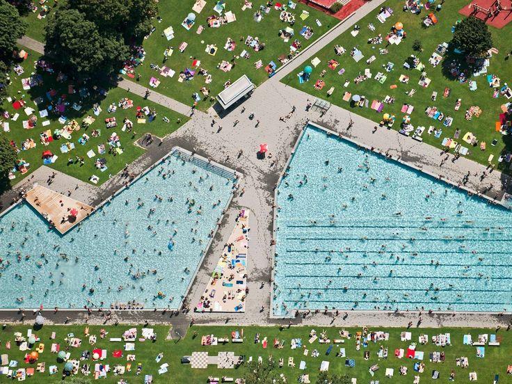 Aerial View of Munich, Germany (Schyrenbad)