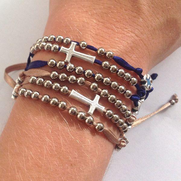 #bracelets #rosary with cross #Bracciale rosario 5 decine con croce grande   Egoriccione