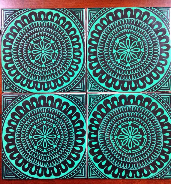 Set of 4 black and green coasters  by DecafDoodles on Etsy
