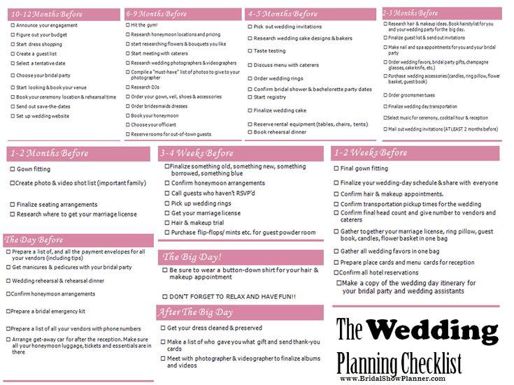 6 Month Wedding Planning Checklist
