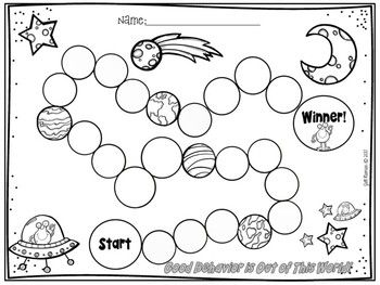 Behavior Chart, Space:Track good behavior with this easy to use behavior chart.  This chart is a minimum of 5 weeks long (longer if a child doesn't earn a stamp or sticker each day).  Every 5th day of good behavior students can earn something small like a piece of candy or a bookmark.
