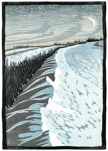 """Drift"" by Nick Wroblewski http://www.nickwroblewski.com/ Tags: Linocut, Cut, Print, Linoleum, Lino, Carving, Block, Woodcut, Helen Elstone, Snow, Winter, Moonlight, Moon, Field."