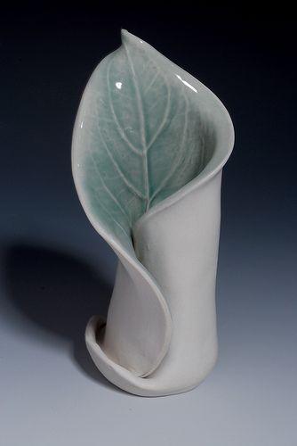 Hosta vase | Handbuilt porcelain vase using a hosta leaf fro… | Flickr