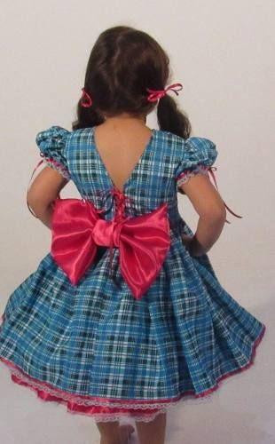 Vestido De Festa Junina Caipira Infantil Xadrez E Rosa Pink