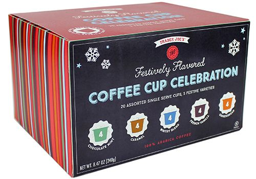Trader Joe's Festively Flavored Coffee Cup Celebration $9.99  #traderjoes #kcup #holiday  #SingleServeCoffee