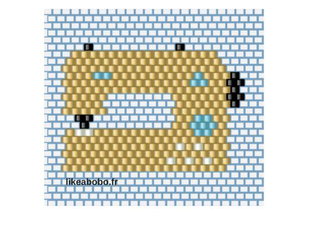 Une broche machine à coudre en brick stitch - diagramme #brickstitch #diy #miyki