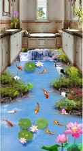 3d suelo impermeable personalizada auto adhesión nueve peces carpa loto 3d baño cascada foto murales de pared 3d wallpaper(China)