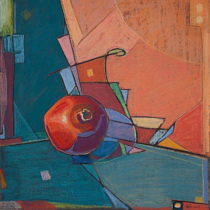 """The pomegranate"" materials paper, pastel  size 34x34cm"