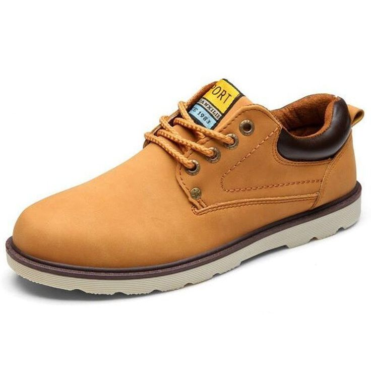 Men Spring Autumn Waterproof Solid Lace-up Man Fashion Flat With Pu Leather Outdoors Shoe