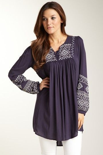 Embroidered Long Sleeve Woven Tunic
