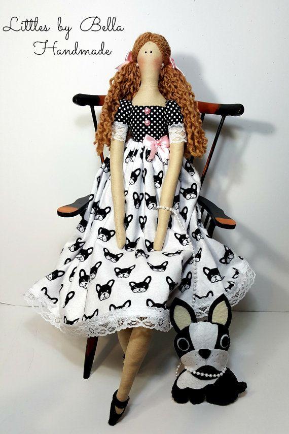 Bulldog Francés muñeca tilda textil muñeca por littlesbyBella