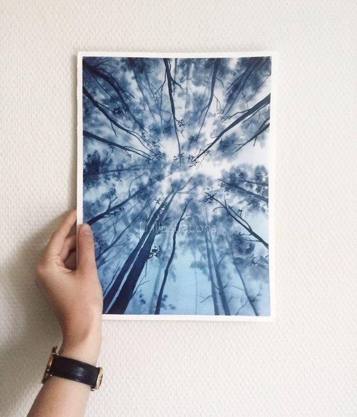 Originale Aquarell Malerei, Blätterdach, Blau, Tr…