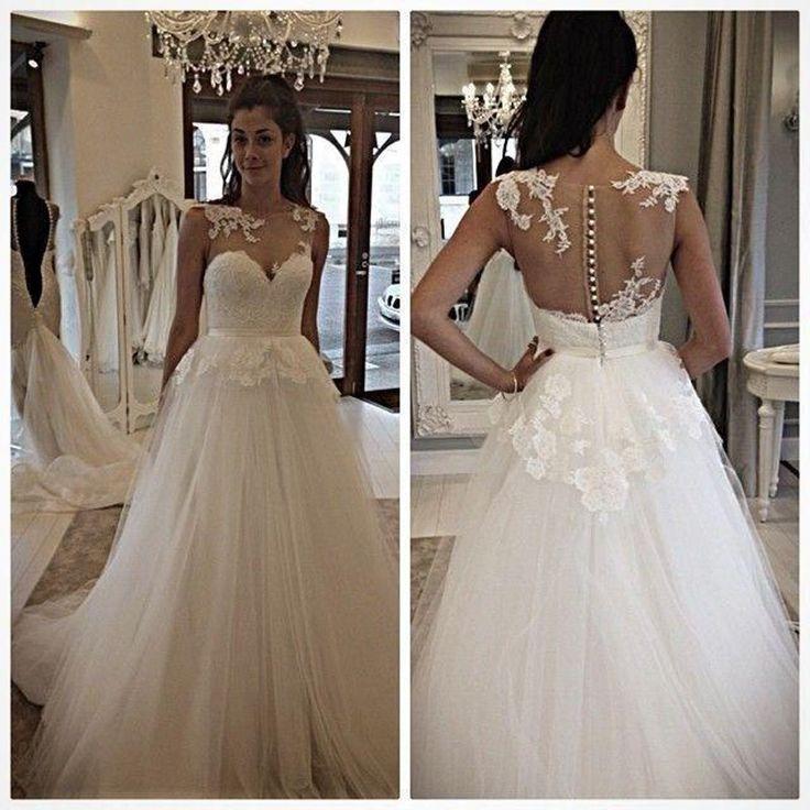 Само совок шея иллюзия вернуться обшитые пуговицы свадебное платье аппликация элегантный свадебное платье Большой размер Vestido де Noiva