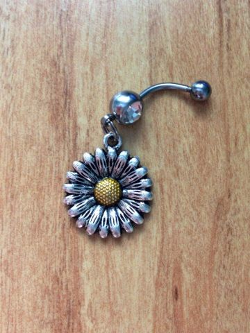 Sunflower Belly Ring Flower Daisy Belly Ring by GypsySoulsx, $12.00