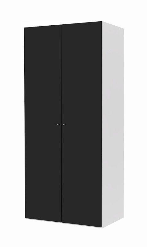 Save+Garderobeskap+-+Garderobeskap+i+hvit+med+to+luker+i+svart+høyglans.+Skapet+fra+kolleksjonen+Save+kommer+med+to+topphyller+samt+en+klesstang.+Det+er+også+mulighet+for+at+kjøpe+til+ekstra+hyller,+skuffer+og+romdelere.+Skapene+har+en+stilren+hvit+struktur+på+yttersiden+mens+skapene+har+en+lys+grå+farge+innvendig,+som+gir+kolleksjonen+et+pent+og+elegant+utseende.+    Med+SmartMount+er+det+lett+å+bygge+et+SAVE+skap: