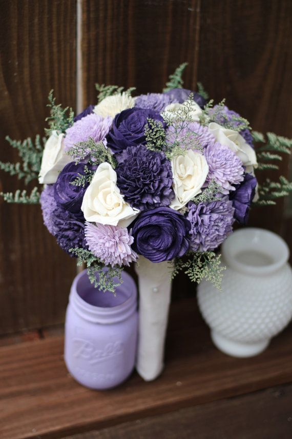 Sola Bouquet Rustic Wedding Purple