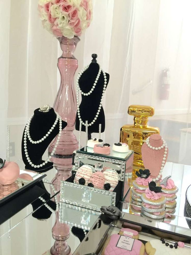Gorgeous Chanel baby shower party! See more party planning ideas at CatchMyParty.com!