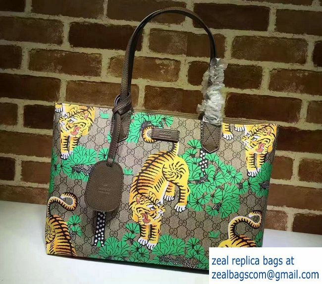 Gucci GG Supreme Web Medium Tote Bag 429002 Bengal Green 2016