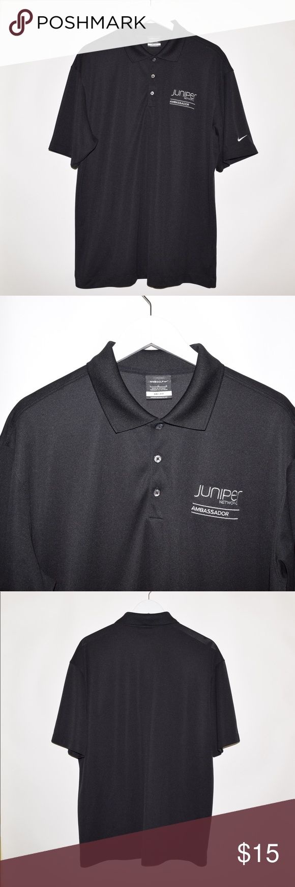 Nike Golf Dri-Fit Embroidered Polyester Polo Shirt Brand: Nike Golf Item name: Men's Dri-Fit Polyester Polo Shirt w/ custom Juniper Networks embroidery on chest   Color: Black Condition: This is a pre-owned item. It is in excellent condition with no stains, rips, holes, etc.Comes from a smoke free household. Size: Large Measurements laying flat: Pit to pit - 23 inches Neckline to base - 29.5 inches Nike Shirts Polos