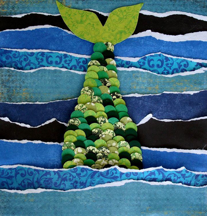 under the sea ideas I really like the torn paper for the sea and the circles of different papers for scales..lovely. really textural.